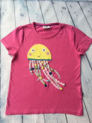 Mini Boden pink applique jelly fish tshirt age 6-7